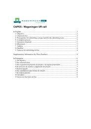 CAPES - Wageningen UR call
