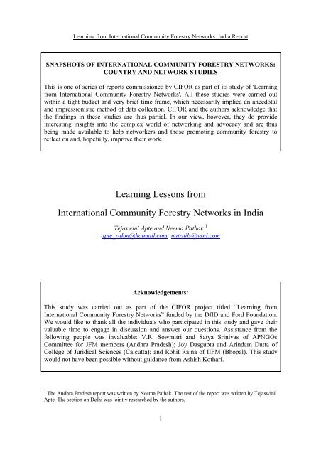 Snapshots of International Community Forestry Networks: Country ...