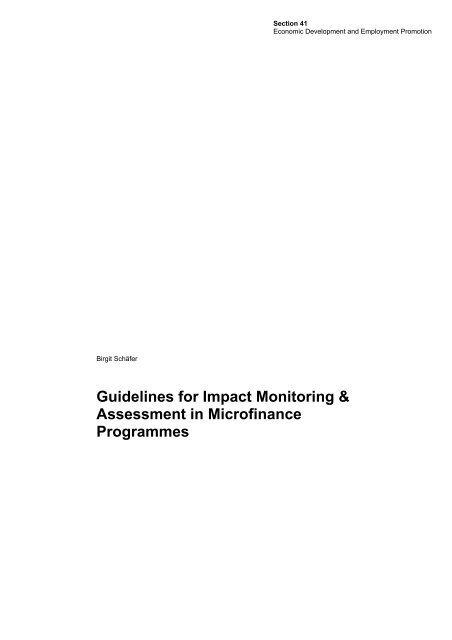 Guidelines for Impact Monitoring & Assessment in Microfinance ...