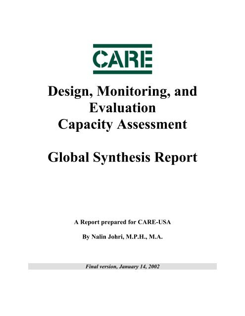 Design, Monitoring, and Evaluation – Capacity Assessment