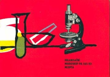 Manuál mikroskopu Meopta PA 565 03