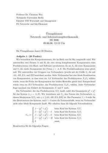 Musterlösung zur Übungsklausur (PDF) - Fakultät VII Wirtschaft ...