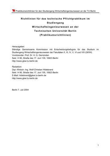 aktuelle Praktikumsrichtlinien vom 07.07.2004 (pdf) - Fakultät VII ...