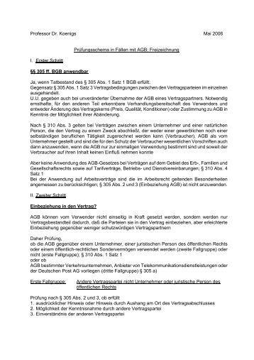 Professor Dr. Koenigs Mai 2006 Prüfungsschema in Fällen mit AGB ...