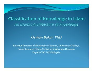 Classification of Knowledge - Epistemology