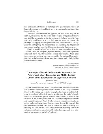 The Origins of Islamic Reformism in Southeast Asia ... - I-Epistemology
