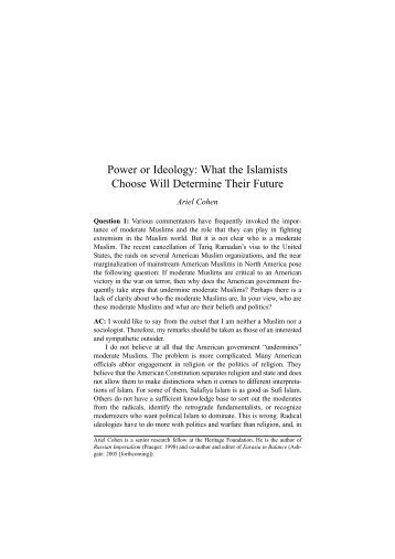 Power or Ideology: What the Islamists Choose Will ... - Epistemology