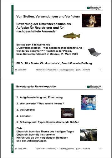 Von Stoffen, Verwendungen und Vorflutern Bewertung der ... - REACh