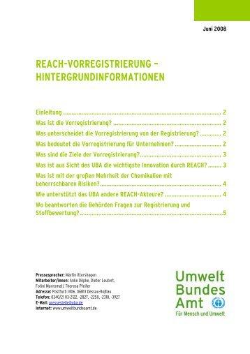 REACH-VORREGISTRIERUNG – HINTERGRUNDINFORMATIONEN