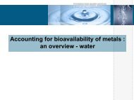 Accounting for Bioavailability of Metals: an Overview-Water - Reach