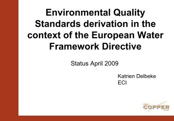 Environmental Quality Standards derivation in the context of ... - Reach