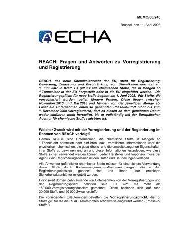 REACH: Fragen und Antworten zu Vorregistrierung und Registrierung