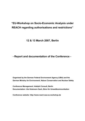 """EU-Workshop on Socio-Economic Analysis under REACH ..."