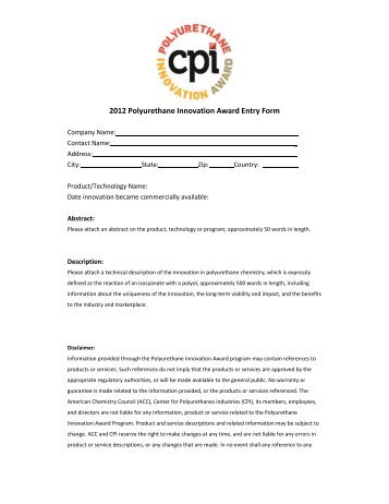 2012 Polyurethane Innovation Award Entry Form - Polyurethanes ...
