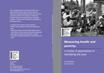 Measuring health and poverty: a review of approaches to identifying ...