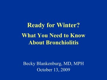 Bronchiolitis: Truths and Myths
