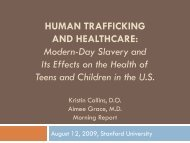 HUMAN TRAFFICKING and Health Care - Stanford University