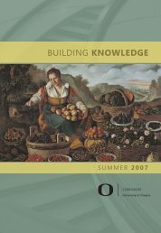 BUILDING Knowledge - Library - University of Oregon