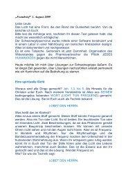 ?Frontbrief? 1. August 2009 Liebe Leute Das Licht hat eine Front, die ...