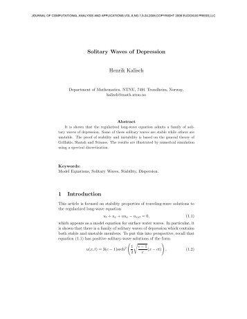 Solitary Waves of Depression Henrik Kalisch 1 Introduction