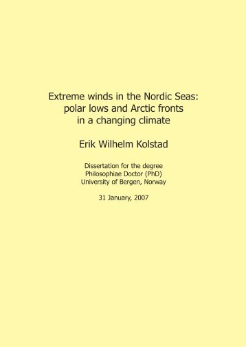 Extreme winds in the Nordic Seas: polar lows and Arctic fronts in a ...
