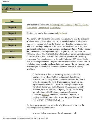 Introduction to Colossians: Authorship, Date, Audience - Crain Home