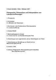 Filmsprache und Filmanalyse in der Medienpädagogik