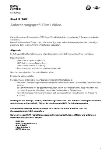 Anforderungsprofil Film / Video. - MediaPool - BMW Group