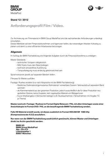 Anforderungsprofil Film / Video. - MediaPool - BMW Group