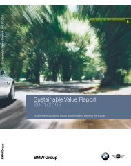 Sustainable Value Report 2001/2002 - BMW Group