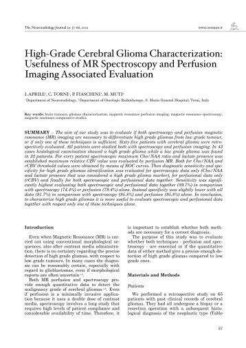 High-Grade Cerebral Glioma Characterization: Usefulness of MR ...