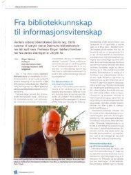 Fra Bibliotekkunnskap til informasjonsvitenskap - Forskning - IVA