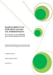 RoMEO Gr nt Lys for Open Access til Forskningen ... - Forskning - IVA