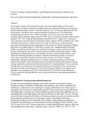 1 En teori om læring, informationsbehov og ... - Forskning