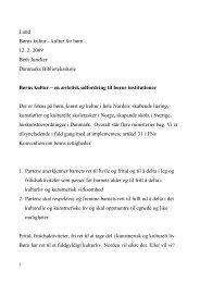 Lund Børns kultur – kultur for børn 12. 2. 2009 Beth ... - Forskning
