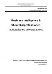 Business Intelligence & bibliotekarprofessionen ... - Forskning