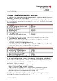 Zertifikat Pflegehelferin SRK Langzeitpflege - SRK Bern