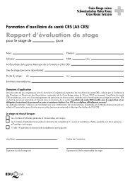 Rapport d'évaluation de stage - SRK Bern