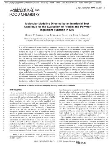 Molecular Modeling Directed by an Interfacial Test Apparatus for the ...