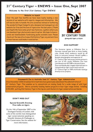 21 Century Tiger ~ ENEWS ~ Issue One, Sept 2007 - 21st Century ...
