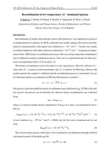 Recombination in low temperature Ar+ dominated plasma