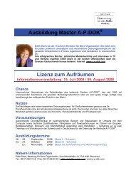 Lizenz zum Aufräumen Informationsveranstaltung - AP-DOK