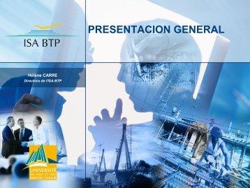 PRESENTACION GENERAL - ISA BTP, école d'Ingénieurs du BTP