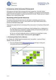 E-resources at the University Of Greenwich ... - Drill Hall Library
