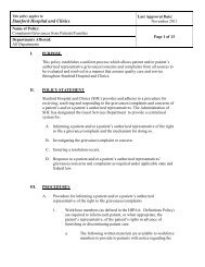 Complaints/Grievances from Patients/Families Policy - Medical Staff ...