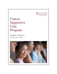 Cancer Supportive Care Program - Stanford Hospital & Clinics