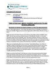 Download Press Release - Twin Cities Gay Men's Chorus