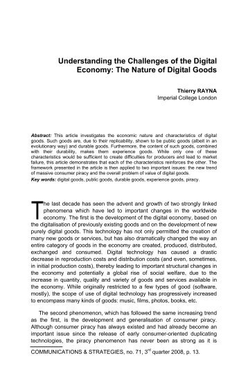 The Nature of Digital Goods - Idate