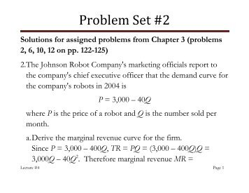 Solutions for Problem Set 2