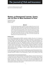 Lawyers, Courts, and the Price of Mold Insurance ... - James R. Garven